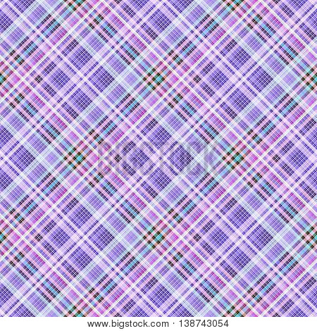 Checkered seamless pattern of interwoven multi-colored violet thin strips. Motley abstract symmetrical pattern. Template for fabrics, wallpaper. Vector eps10
