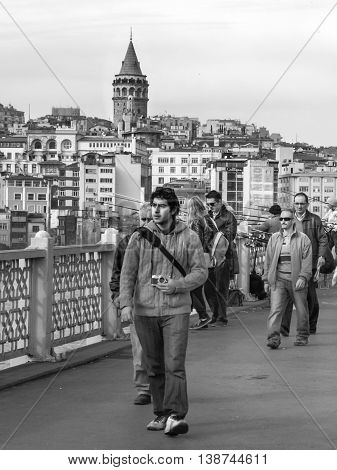 Istanbul Turkey - March 29 2013: Galata Tower a fortress located in the Galata district of Istanbul. The structure was built in 528 years it is among the most important symbols of the city.
