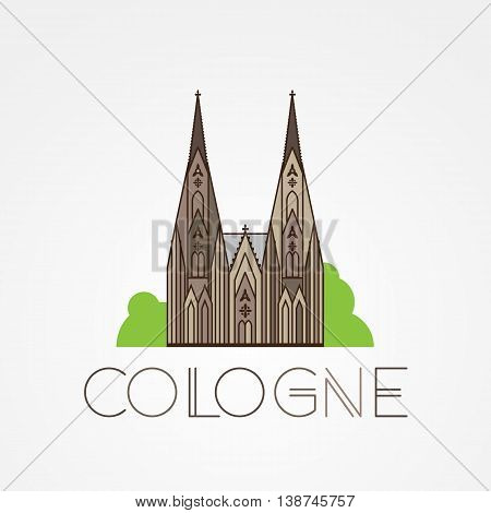 World famous Cologne cathedral. Greatest Landmarks of europe.. Linear vector icon for Koln Germany. Minimalist one line travel sign