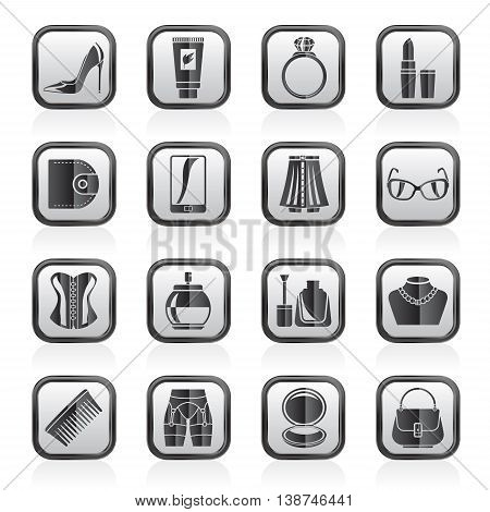 Female accessories and clothes icons- vector icon set