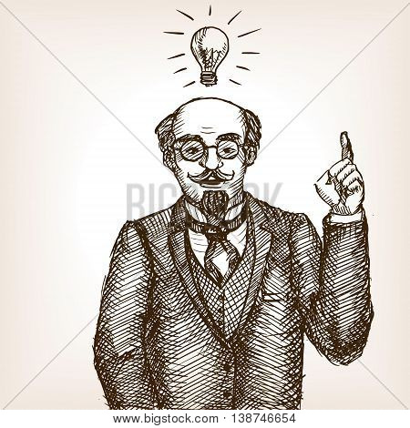 Vintage scientist gentleman with idea lamp sketch style vector illustration. Old engraving imitation.