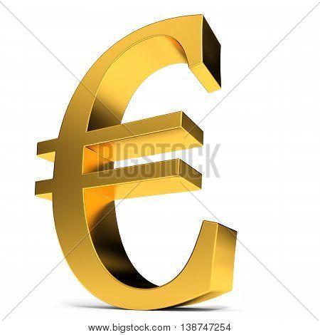 Golden euro sign on white background. 3D illustration.