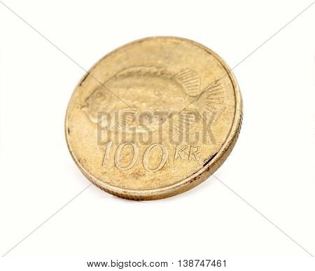100 icelandic krona coin isolated on white background
