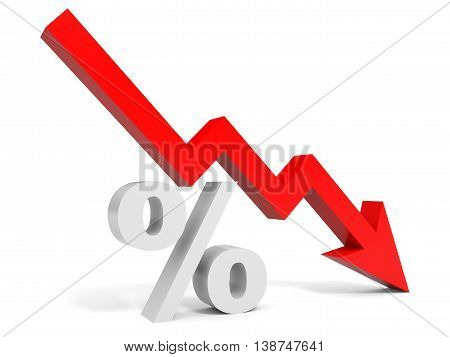 Graph down percent sign arrow. 3D illustration.