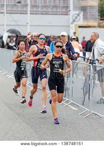 STOCKHOLM - JUL 02 2016: Triathlete Andrea Hewitt and competitors running in the Women's ITU World Triathlon series event July 02 2016 in Stockholm Sweden