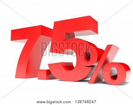 Red Seven Point Five Percent Off. Discount 7.5 Percent.