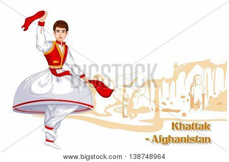 Vector design of Afghani Man performing Khattak dance of Afghanistan
