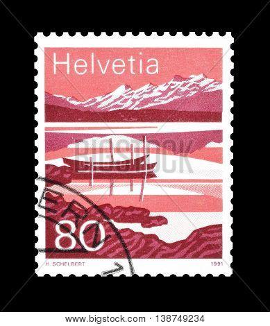 SWITZERLAND - CIRCA 1991 : Cancelled postage stamp printed by Switzerland, that shows Melchsee.