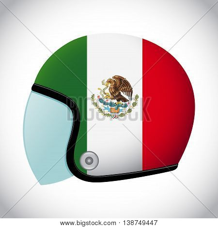 Vector stock of retro classic motorcycle helmet with Mexico flag