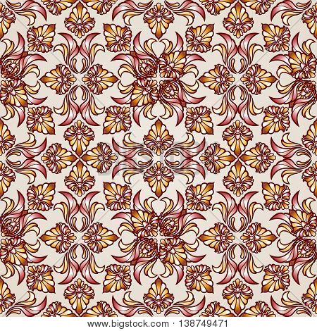 Saturated ornate seamless abstract floral pattern in the shades of brown