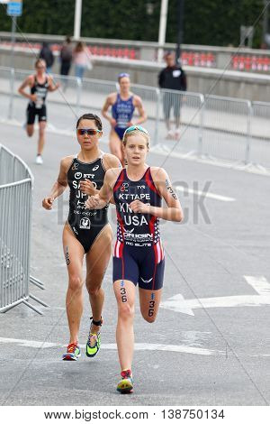 STOCKHOLM - JUL 02 2016: Female running triathletes Taylor Knibb and Yuka Sato in the Women's ITU World Triathlon series event July 02 2016 in Stockholm Sweden