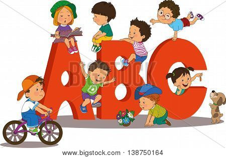 Illustration of Kids Playing with Letter-Shaped Playhouses