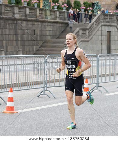 STOCKHOLM - JUL 02 2016: Triathlete Laura Lindemann (GER) running in the Women's ITU World Triathlon series event July 02 2016 in Stockholm Sweden