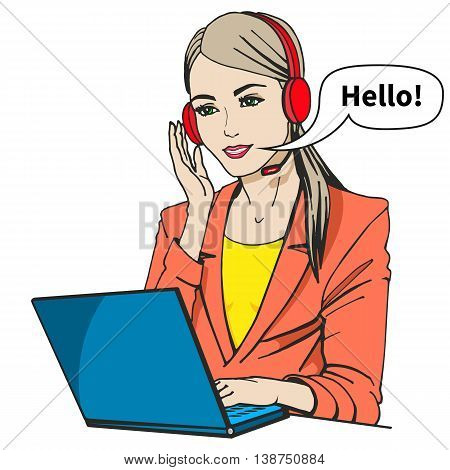 Vector illustration of a secretary with headphones and microphone sitting at a laptop. Isolated on a white background. Call center operator says hello.