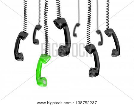 Retro telephone tubes - Getting a call. 3d illustration
