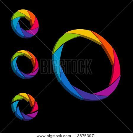 Shutter, Aperture Color And White Wheel. 3D Logo. Isometric