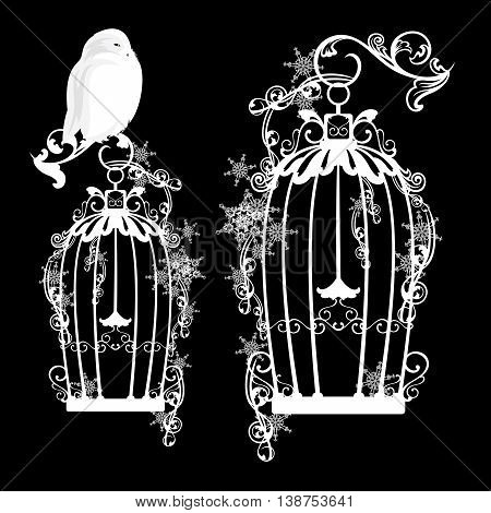 fairy tale snowy owl sitting on a bird cage among snowflakes - vector design elements