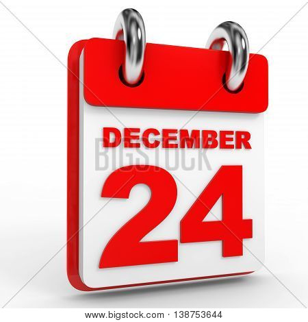 24 December Calendar On White Background.