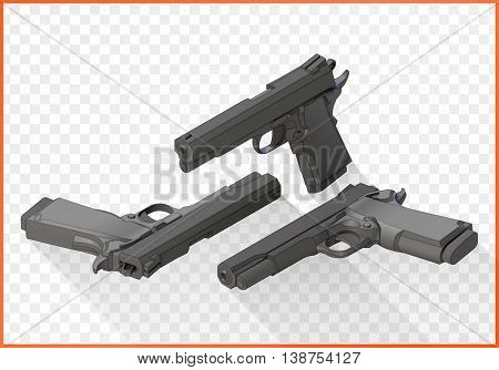 Handgun isometric illustration set. Pistols flat vector 3d isolated on white background