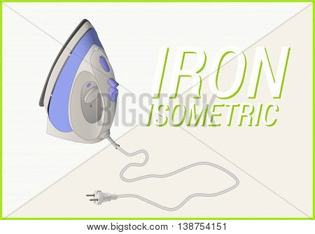 Smoothing-iron isometric flat. Flatiron vector 3d illustration isolated on white background