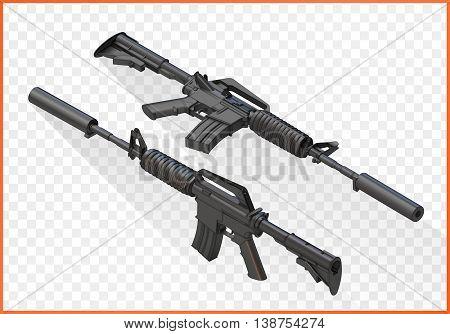 assault carbine  isometric. Vector illustration isolated on white background