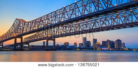 The Crescent City Connection Bridge On The Mississippi River