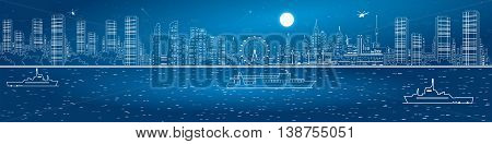 Night city amazing panorama. Urban skyline. River and night megalopolis, ships on the water. Infrastructure and transportation illustration, vector design art