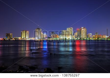 Downtown New Orleans, Louisiana And The Mississippi River