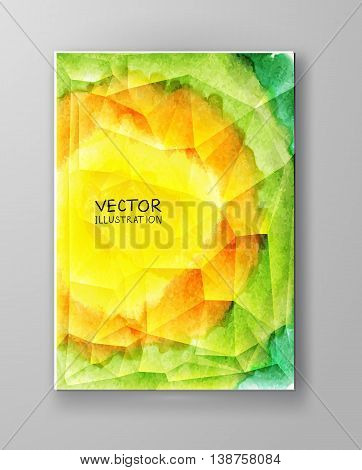 Business design templates. Brochure with Color Paint Backgrounds. Abstract Modern Decoration. Painting. Wallpaper with empty space for your text. Watercolor Brochure design. Vector illustration.