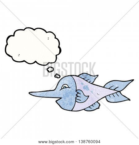 freehand drawn thought bubble textured cartoon swordfish