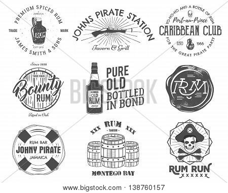 Set of vintage handcrafted emblems, labels, logos. Isolated on a white background. Sketching filled style. Pirate and sea symbols - old rum bottles, barrels, skull, pistol. Vector.