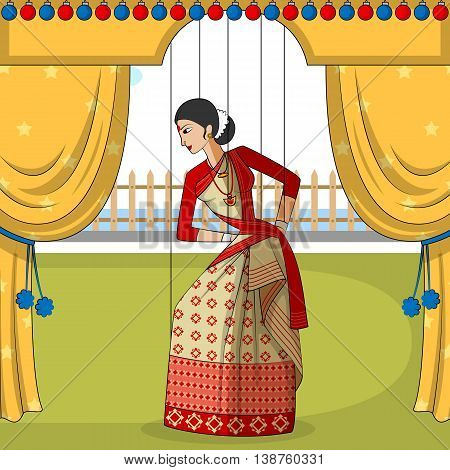Vector design of colorful Rajasthani Puppet doing Bihu folk dance of Assam, India