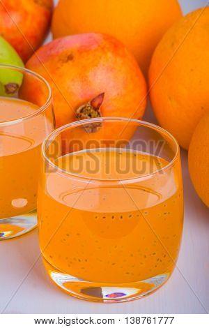 Orange With Basil Seeds Drink.