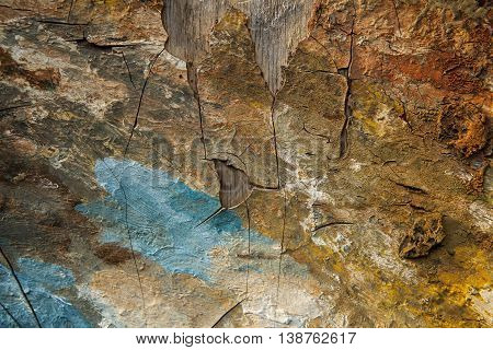Abstract oil painted scratched crannied background texture