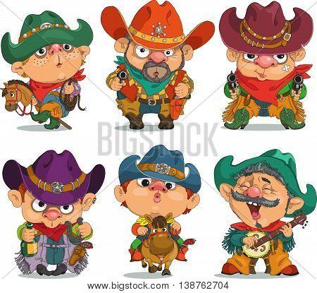 Cartoon cowboy. Funny cartoon. Characters. Cowboy set. Isolated objects.