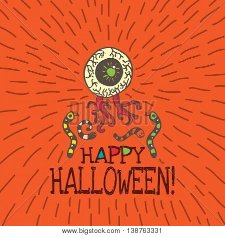 Halloween card with hand drawn zombie eye with worms on orange background. Vector hand drawn illustration.