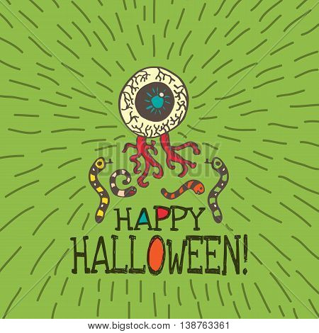 Halloween card with hand drawn zombie eye with worms on green background. Vector hand drawn illustration.