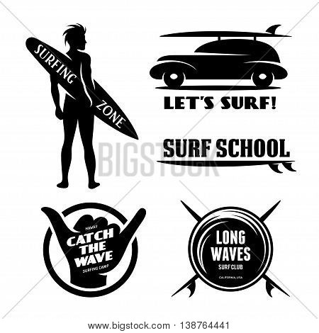 Surfing related labels set. Catch the wave. Quotes about surfing. Surf car with surfboard. Surfer silhouette. Trendy design elements for t-shirt designs, prints and posters. Vector vintage illustration.
