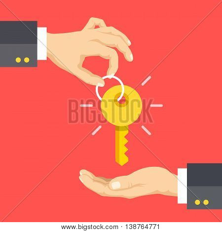Hand giving key, hand taking key. Real estate, car sale, rent apartments or house concepts. Flat design vector illustration isolated on red background