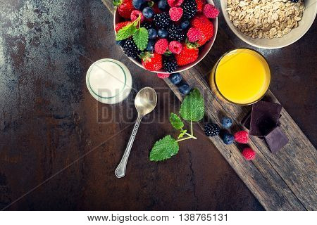 Bowl Of Berries. Healthy Breakfast.