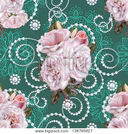 Pattern seamless. Old style.Fine weaving mosaic. Damascus ornament. Bouquet of flowers. Pink roses pastel white. Lace curls of the pearls. Vintage background.