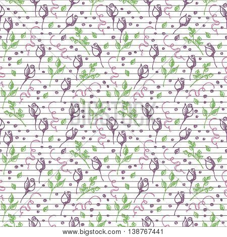 Seamless vector pattern, background with roses, branches and leaves on the lined white backdrop. Hand sketch drawing. Imitation of ink pencilling. Series of Hand Drawn Patterns.
