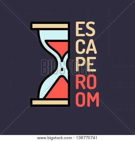 hourglass. Real-life room escape and quest game poster. poster