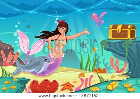A vector illustration of underwater scene with mermaid and treasure box