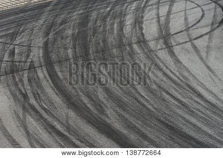 close up on Tyre burnout marks on asphalt road