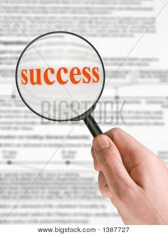 Word Success, Magnifying Glass In Hand
