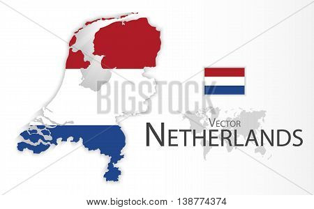 Netherlands ( Kingdom of the Netherlands ) ( flag and map ) ( transportation and tourism concept )
