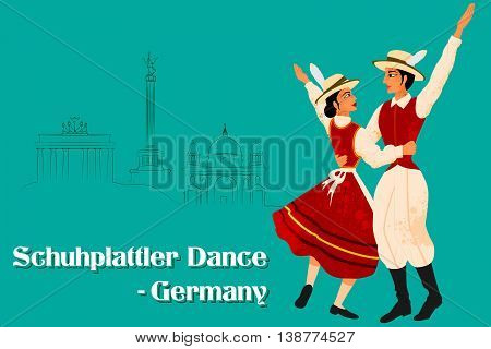 Vector design of Couple performing Schuhplattler dance of Germany