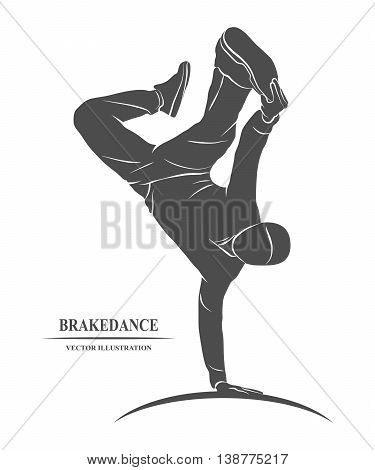 Breakdancer dancing and making a frieze on one hand. Vector illustration.