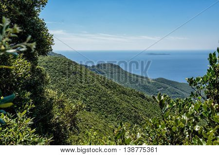 Tuscany coastline in maremma with blue sky